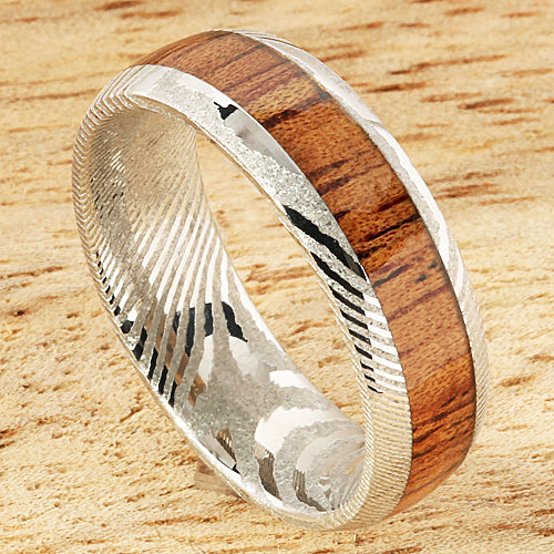 Damascus Steel Koa Wood Inlay Wedding Ring 6mm