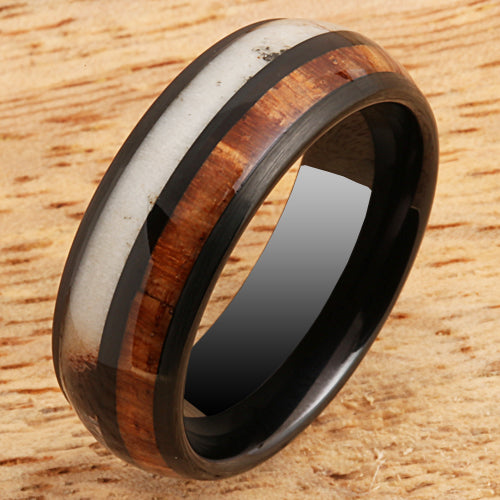 Koa Wood Antler Tungsten Two Tone Wedding Ring 8mm