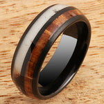 Koa Wood Ring  Antler Inlay Black Tungsten Wedding Ring 8mm Barrel Shape