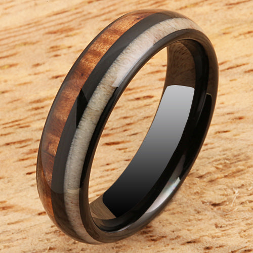 Koa Wood Ring  Antler Inlay Black Tungsten Wedding Ring 6mm Barrel Shape