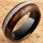 Koa Wood Ring  Meteorite Inlay Black Tungsten Wedding Ring 8mm Barrel Shape