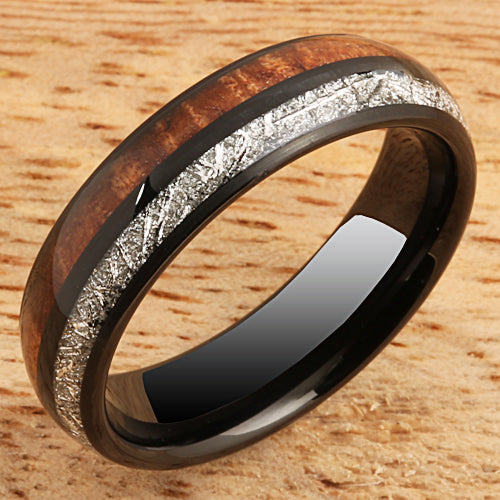 Koa Wood Ring  Meteorite Inlay Black Tungsten Wedding Ring 6mm Barrel Shape