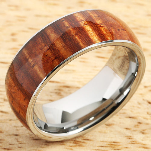 Supper Curly Hawaiian Koa Wood Ring Tungsten Carbide Koa Wood Wedding Band 8mm