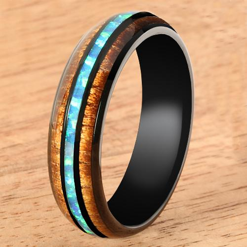Black Tungsten Opal Koa Wood Ring Barrel Shape 6mm Band - Hanalei Jeweler