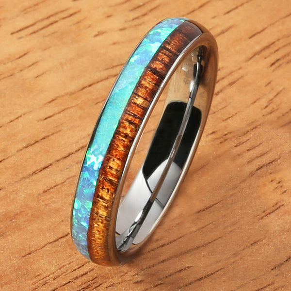 Tungsten Carbide Opal Koa Wood Ring Half Wood/Opal 4mm Barrel Shape Comfort-fit