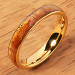 Yellow Gold Tungsten Koa Wood Ring 4mm Dome Shape Comfort-fit