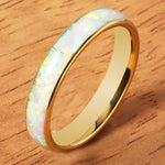 Yellow Gold Tungsten Pink Opal Ring 4mm Dome Shape Comfort-fit