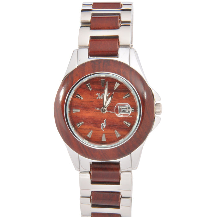 Ladies Wooden Watch Rose Wood and Stainless Steel Bracelet Classic Style - Makani Hawaii Jeweler