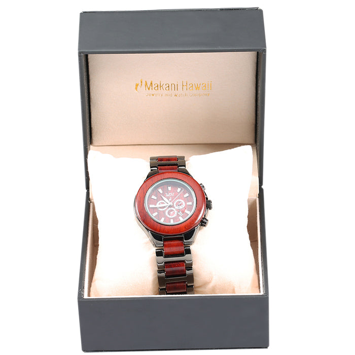 Ladies Wooden Watch Rose Wood and Metal Iron Plated Black Color - Makani Hawaii Jeweler