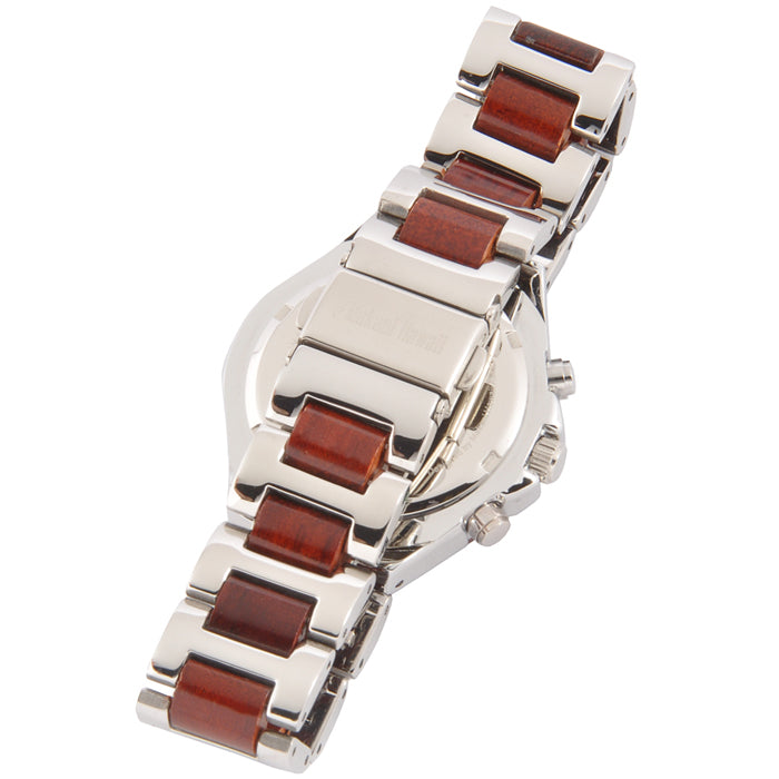 Ladies Wooden Watch Rose Wood and Stainless Steel Bracelet CZ Dial - Makani Hawaii Jeweler