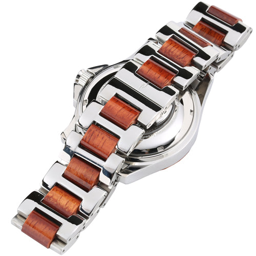 Koa Wood Stainless Steel Mechanical Watch Center Koa Wood Dial - Makani Hawaii Jeweler