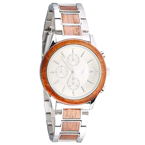 Koa Wood Stainless Steel Quartz Watch Japan Chronograph Movement - Makani Hawaii Jeweler
