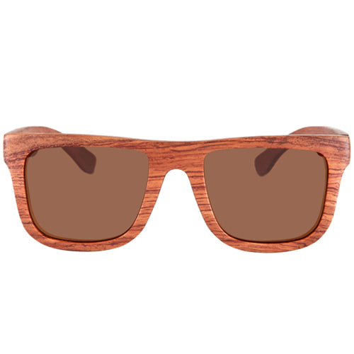 Classic Style Rosewood Sunglasses Rectangle Frame Flat