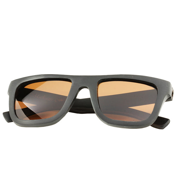 Classic Style Black Sandalwood Sunglasses  Rectangle Frame Flat