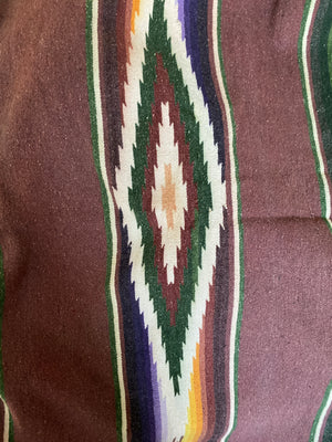 Old Mexican Saltillo Blanket, Wool Cotton Blend in Ox Blood Red.