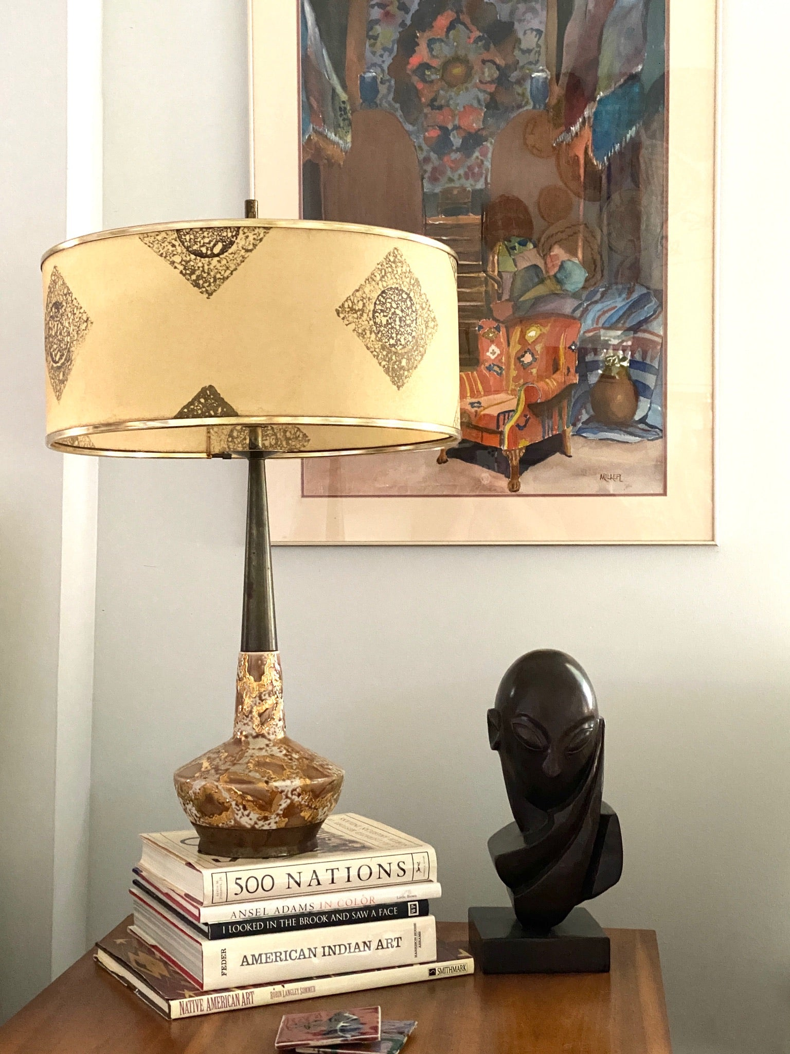 Mid Century Atomic Lamp with fiberglass shade