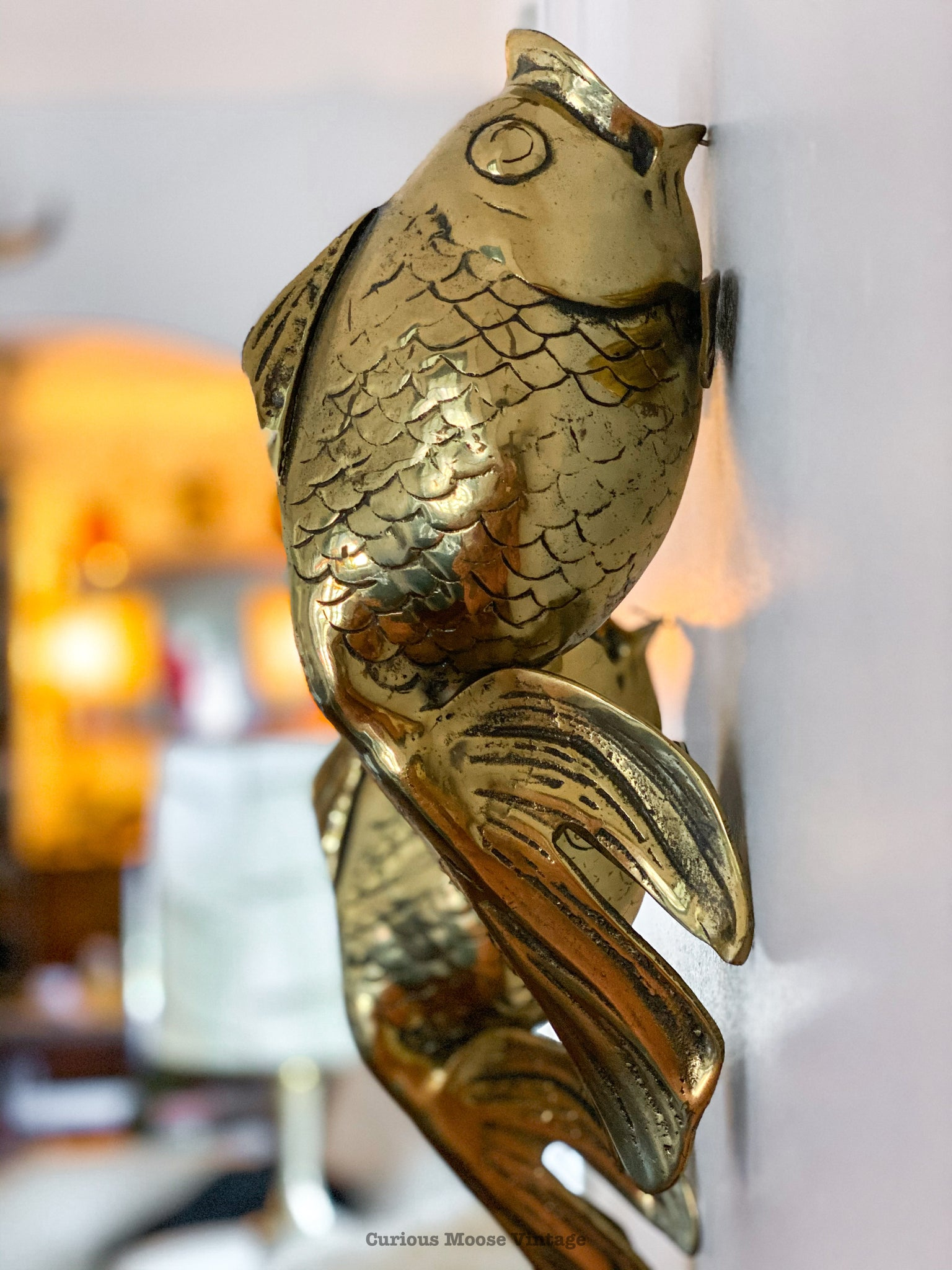 Rare Pair of Brass Koi Fish Sculpture.