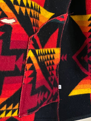 90's Pendleton Blanket Coat Handmade by Zephyr in Santa Fe with Antler Buttons. Size L