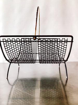 Mid Century Black Mesh and Gold Handle Magazine Rack or Kindling Wood Rack.