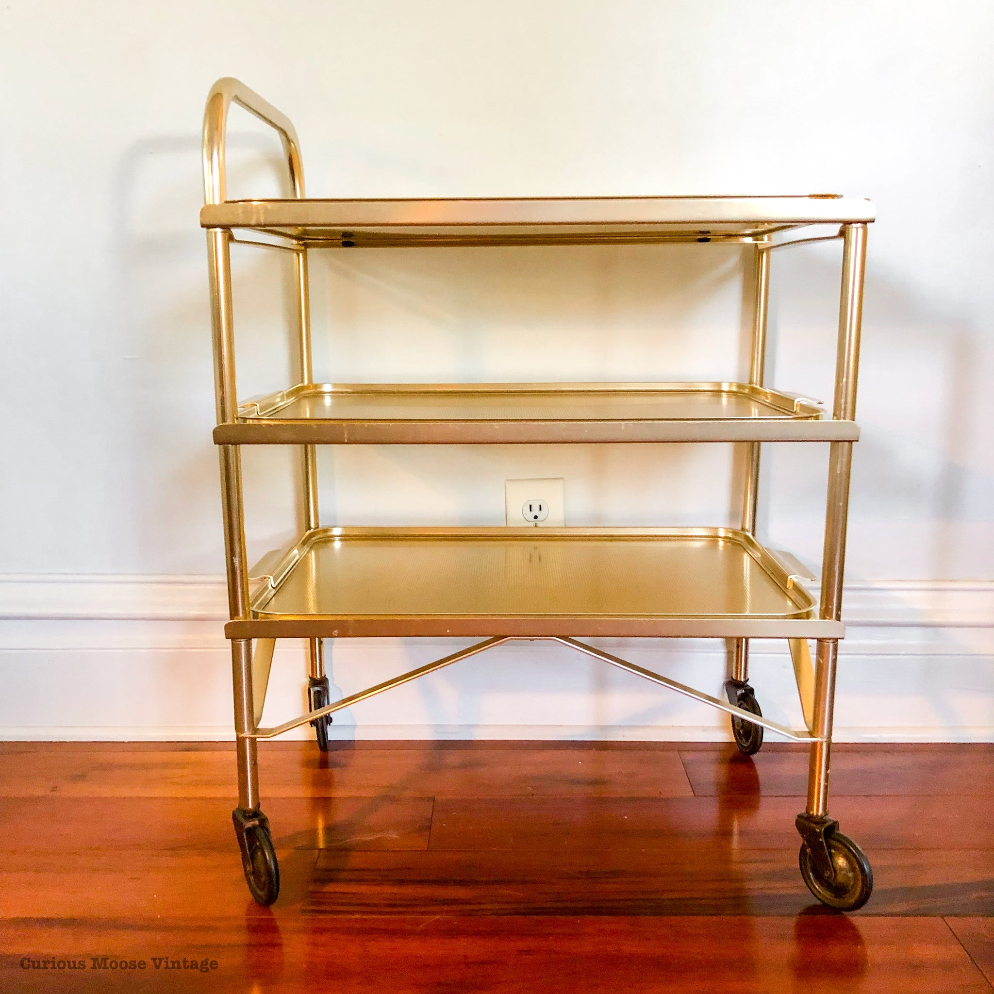 Vintage Gold 3 Tier Hotel Serving Bar Cart on Wheels with Removable Trays.