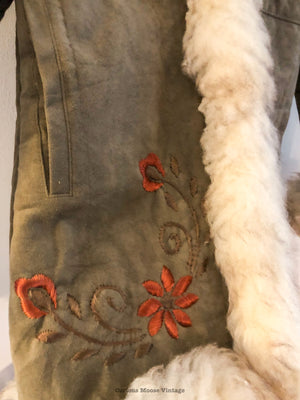 70's Sheepskin Shearling Embroidered Bohemian Coat.