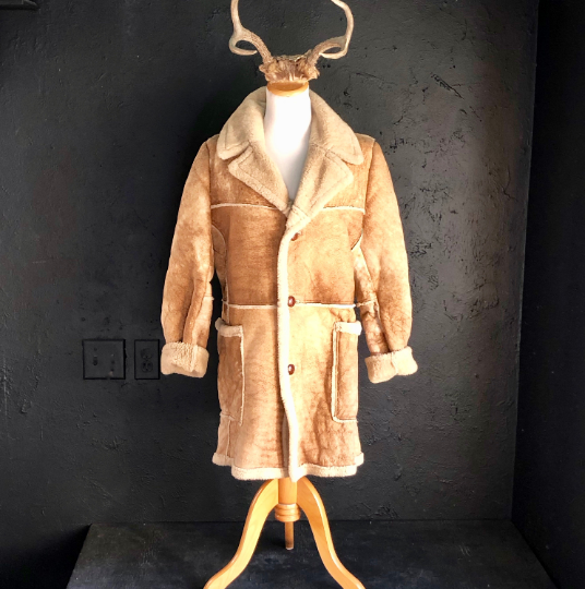 70's Sheepskin Shearling Suede Brown Medium Coat.