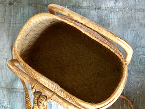 Rattan Pasiking Backpack Basket from Philippines.  Vintage Handwoven Bontoc Woven Basket with lid.