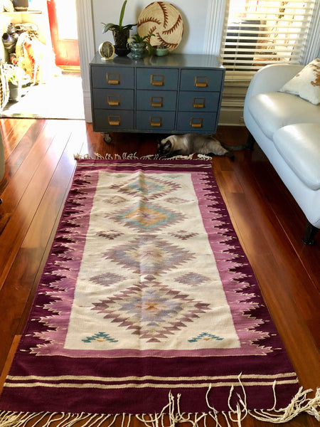 Vintage Zapotec Mexican Indian Flat Woven Rug in Purples and Creams. 3' x 6'.