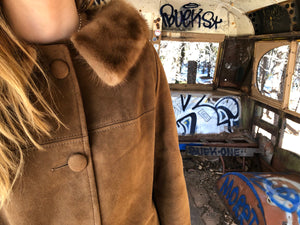 1960's Suede Leather Preppy Women's Coat with Mink Fur Collar.