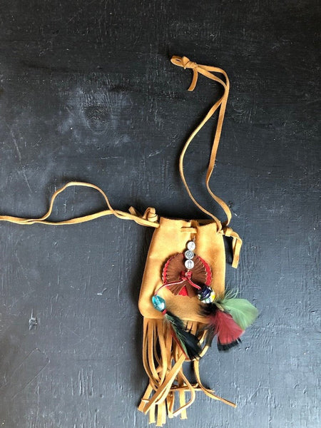 Vintage Suede Leather Pouch with Feathers, Beads, and Fringe.
