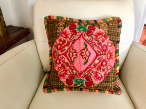 Vintage Guatemala Huipil Embroidered Flower Pillow Cover with Zipper Back.