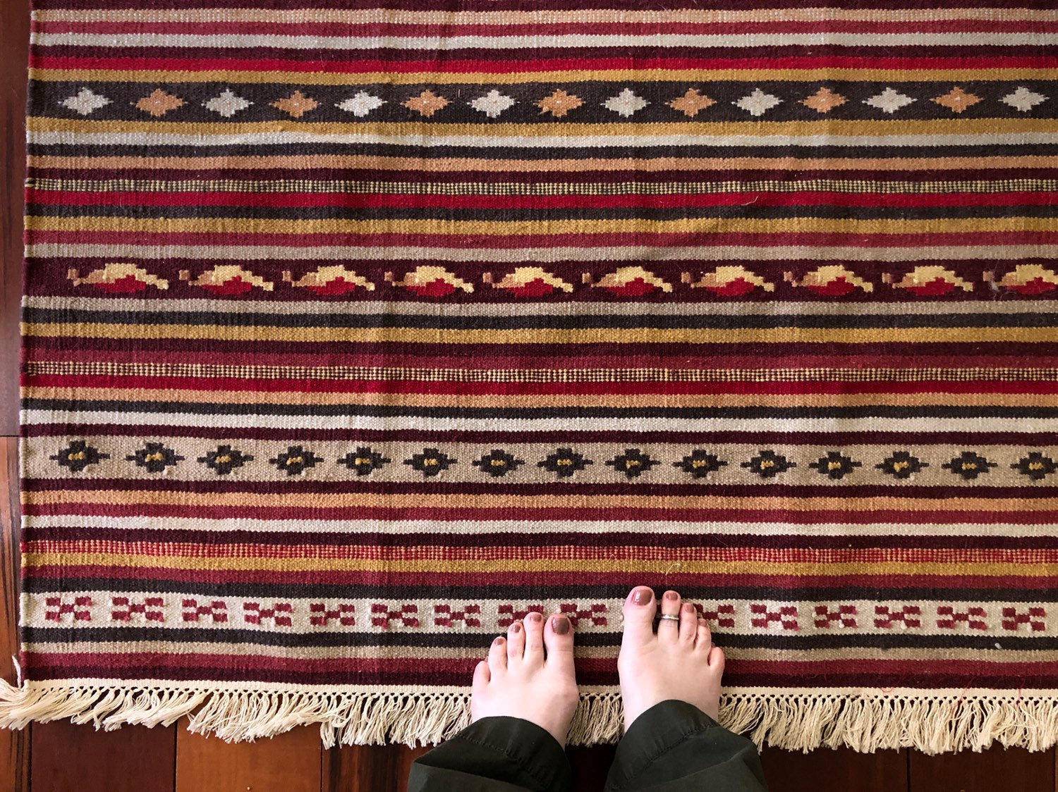 Vintage Striped Kilim  Wool Flatweave Rug .