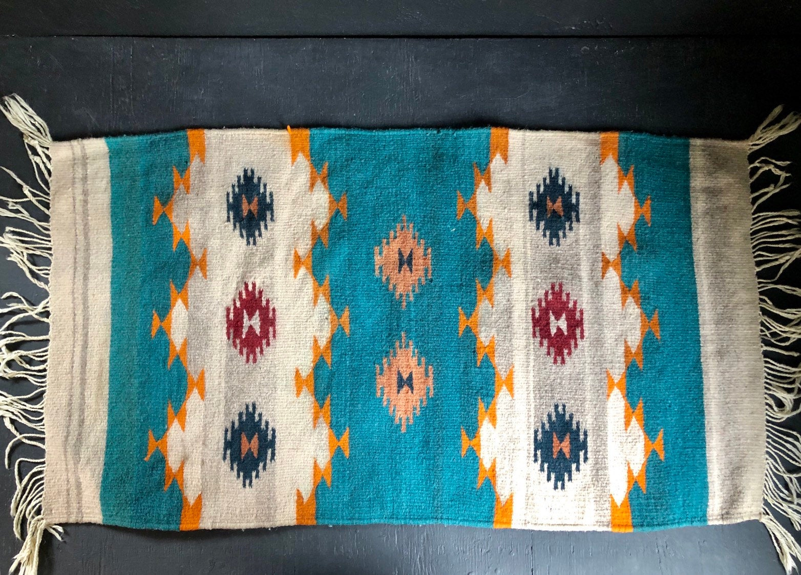80's Zapotec Mexican Indian Wool Weaving Rug.