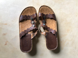 Vintage South African Hand stitched Leather Sandals with Conchos.  Size 38 or 7.5