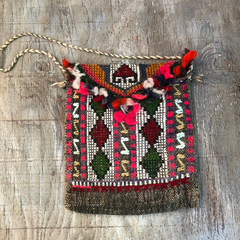 Peruvian Handwoven and Hand Embroider Wool and Cotton Shoulder Bag.