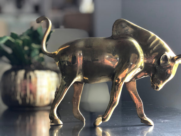 Vintage Brass Bull Cow made in Pakistan.