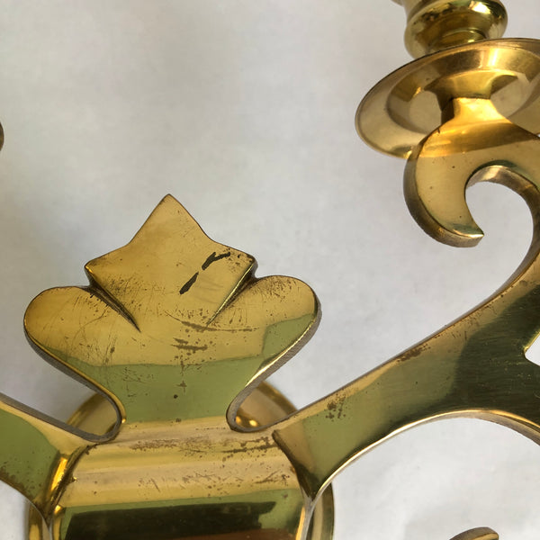 Mid Century Brass 4 candlestick holder sconce.