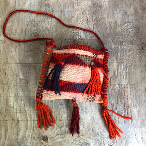 70's Middle Eastern Handwoven Wool Bag with Tassels.