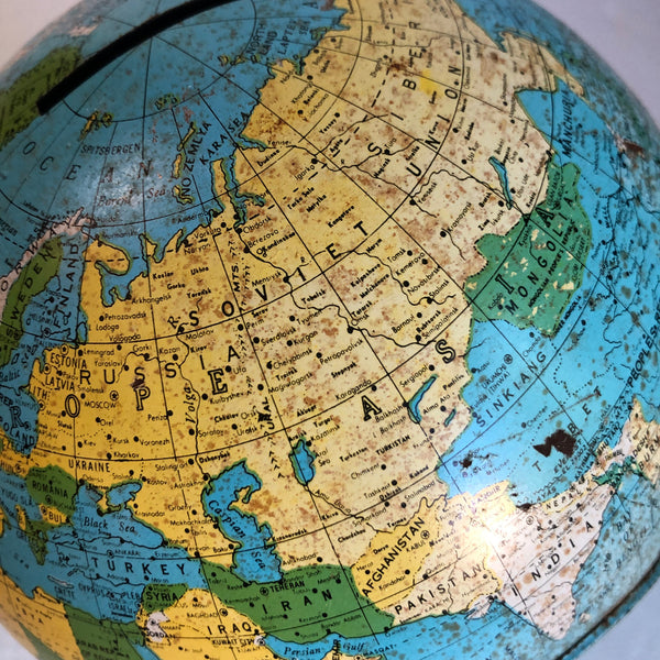 "MCM 5"" inch Metal World Globe Bank Ohio Art USA World Piggy Bank. 1950's"