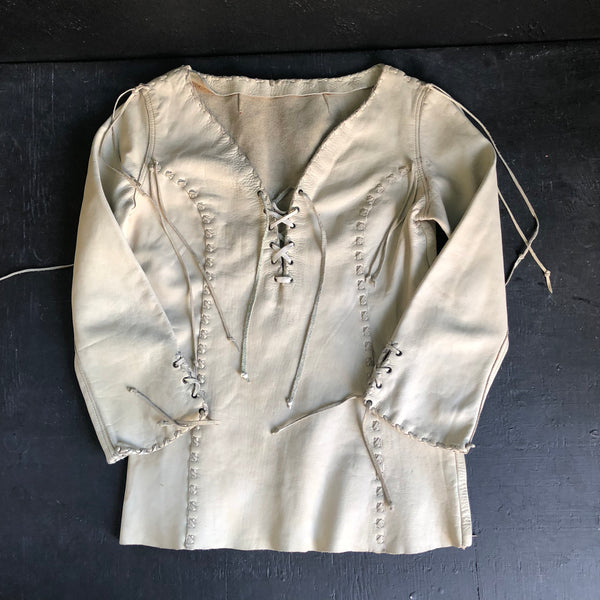 70's Handmade Off White Full Grain Leather Women's Shirt size Small.