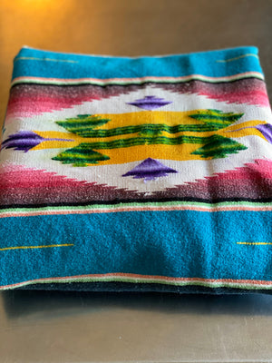 40's Wool Saltillo Turquoise Blanket with Silk Center.