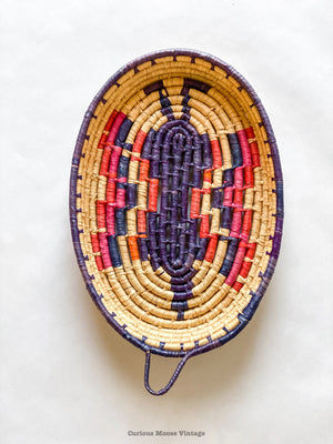 Vintage Mexican Toluca Butterfly Wall Basket and Storage.