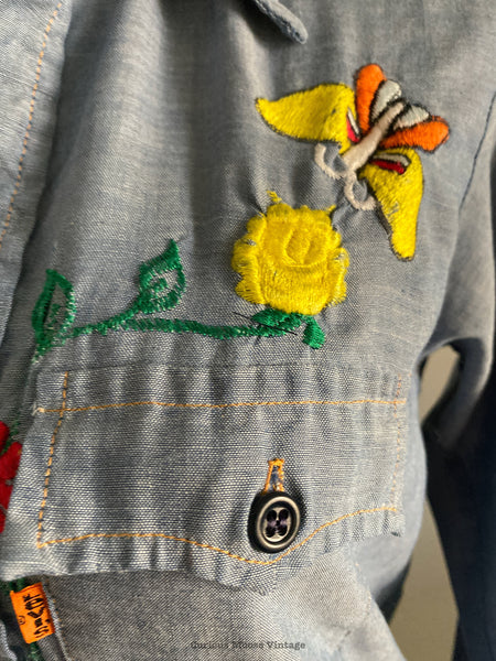 70's Levis Chambray Denim Embroidered Shirt.