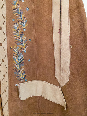 70's Suede Leather Embroidered Cape Poncho