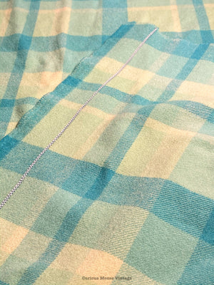 Mid Century Australian Lambs Wool Turquoise Blue Plaid Blanket by Physician.
