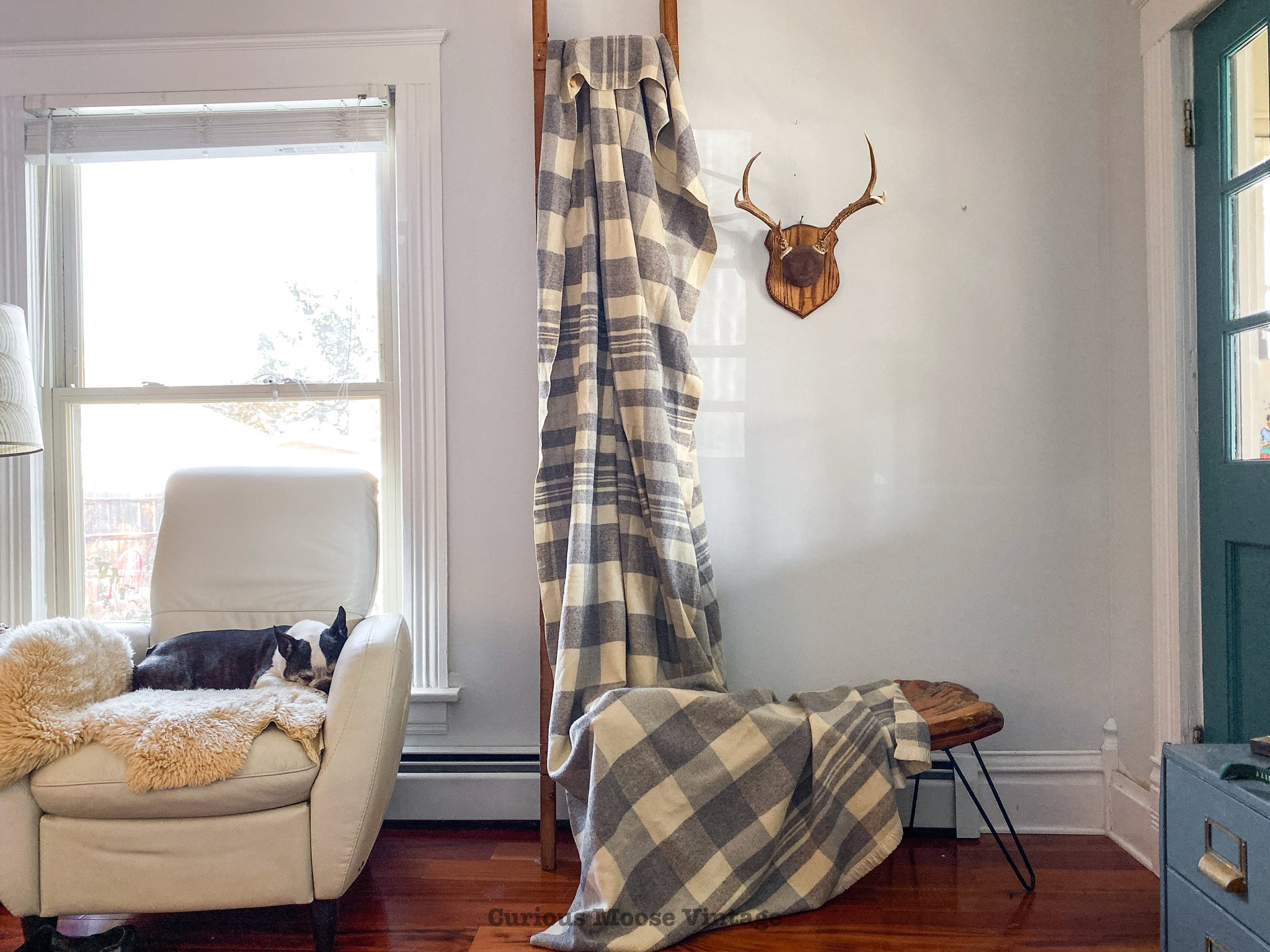 50's North Star Grey Plaid Wool Double Length Traditional Camp Blanket.