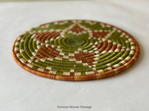 "10.5"" inches African Uganda Trivet Basket. Bukedo Basket in Natural Raffia."