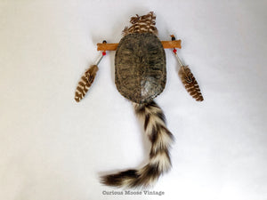Native American Ring Tail Raccoon Turtle Shell Wall Hanging.
