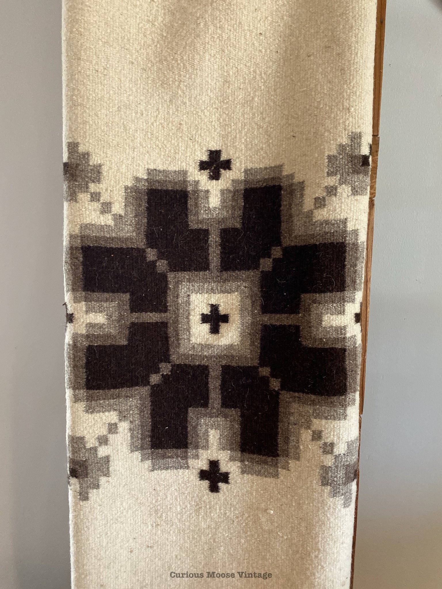 70's Mexican Wool Floral Black-Brown and Cream Rug or Blanket