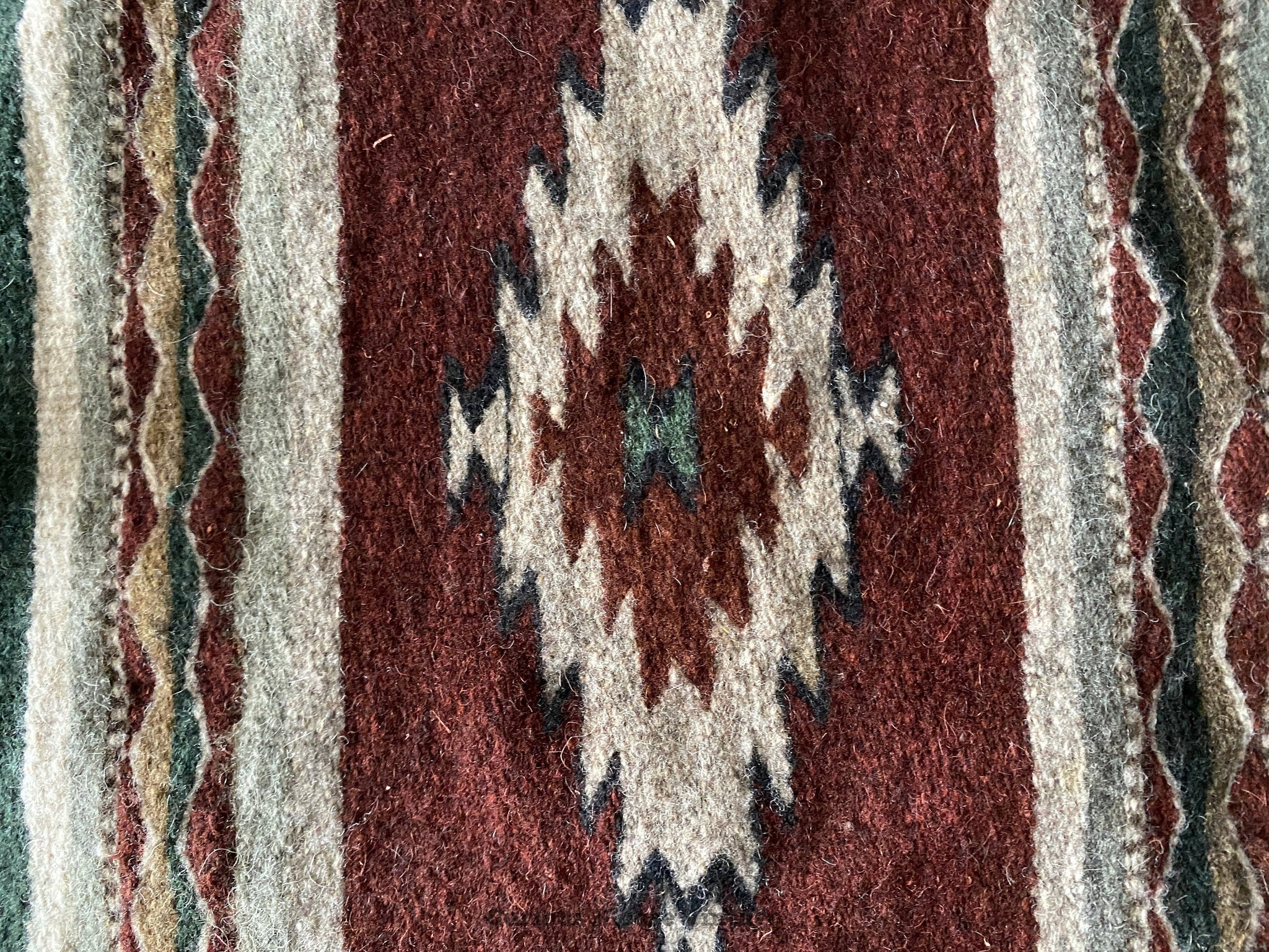 90's Zapotec Indian Wool Oaxaca Mexican Rug.